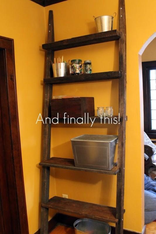 Diy Ladder Shelf From Reclaimed Wood A Jennuine Life