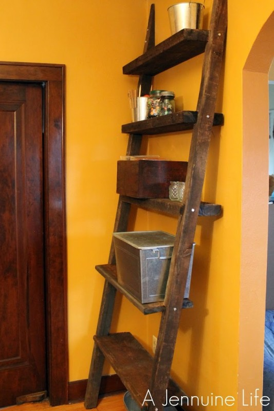 DIY Ladder Shelf From Reclaimed Wood
