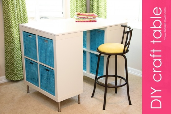 Diy counter height craft table a jennuine life for Counter height craft table with storage