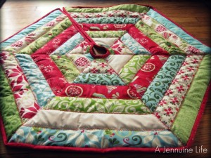 jelly roll quilted christmas tree skirt