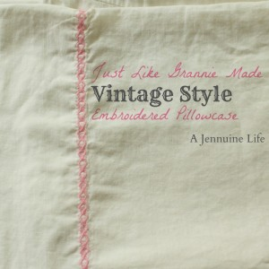 Vintage Style Embroidered Pillowcase Title