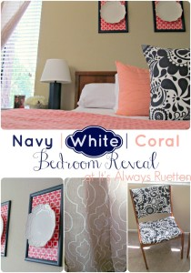 Budget Friendly Navy, White, & Coral Bedroom Reveal from It's Always Ruetten