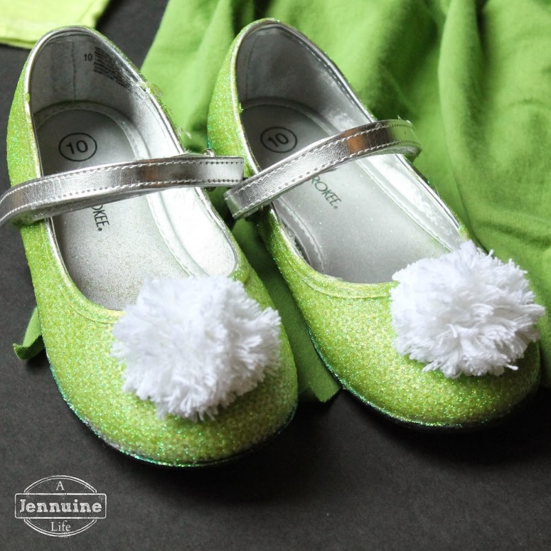 Tinkerbell costume for a michigan halloween a jennuine life hot glue holds the pom poms in place and voila tinkerbells shoes i left the straps silver since i didnt think the glitter would stay on them very well solutioingenieria Choice Image