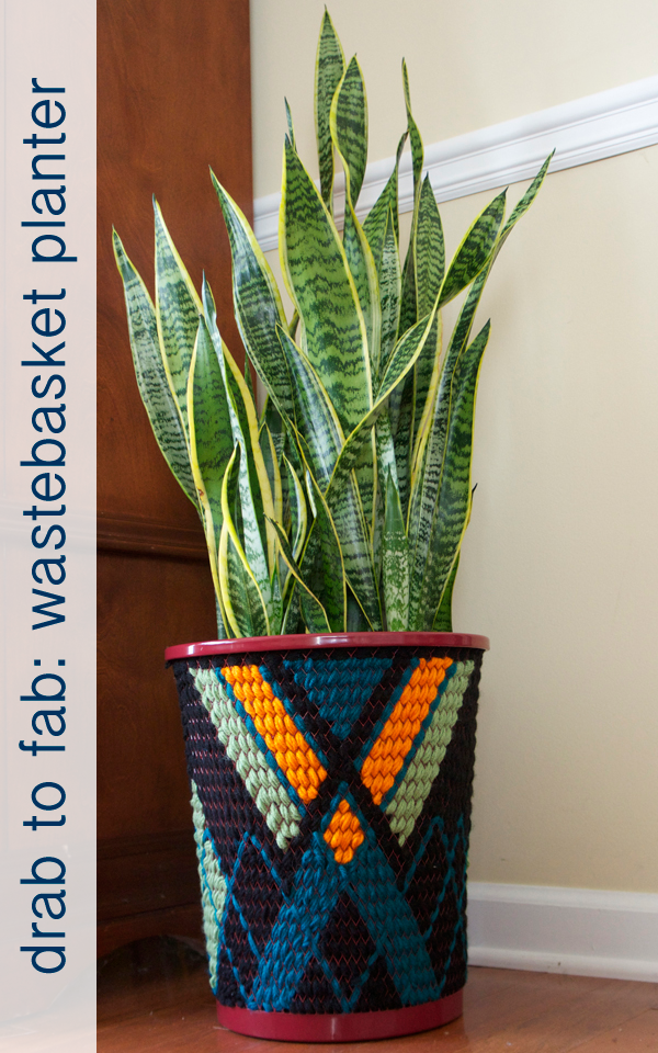Drab to Fab:Wastebasket planter! How to turn a $4 wastebasket into a beautiful planter :: becomingfab.com