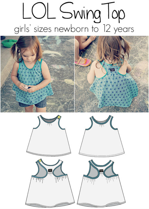 Jennuine Design LOL Swing Top girls' newborn to 12 years knit or woven