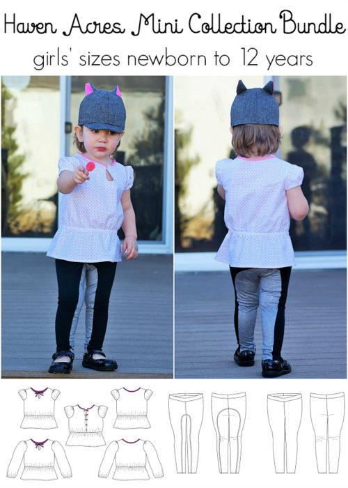 Jennuine Design Haven Acres Mini Collection Bundle girls' sizes newborn to 12 years. Includes Sweet Pea Cap, Haven Acres Blouse, and Dressage Leggings