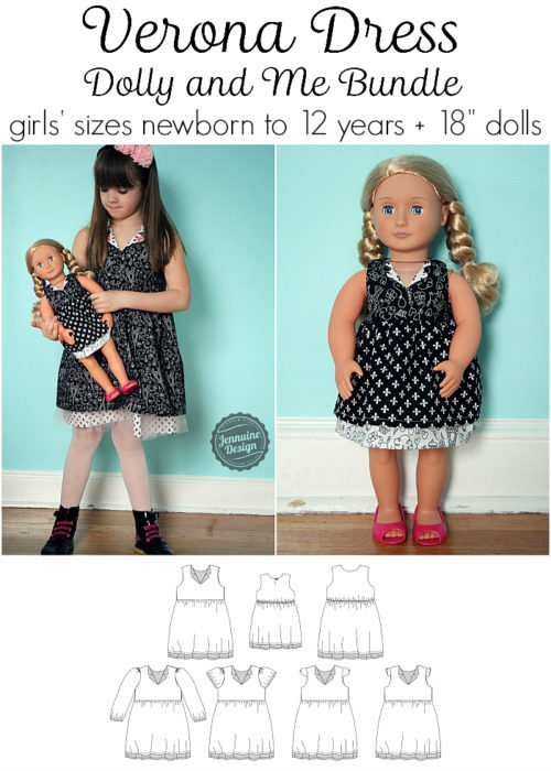 "Jennuine Design Verona Dress Dolly and Me Bundle girls' sizes newborn to 12 years + 18"" dolls"