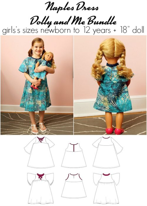 "Jennuine Design Naples Dress Dolly and Me Bundle girls' sizes newborn to 12 years + 18"" dolls"