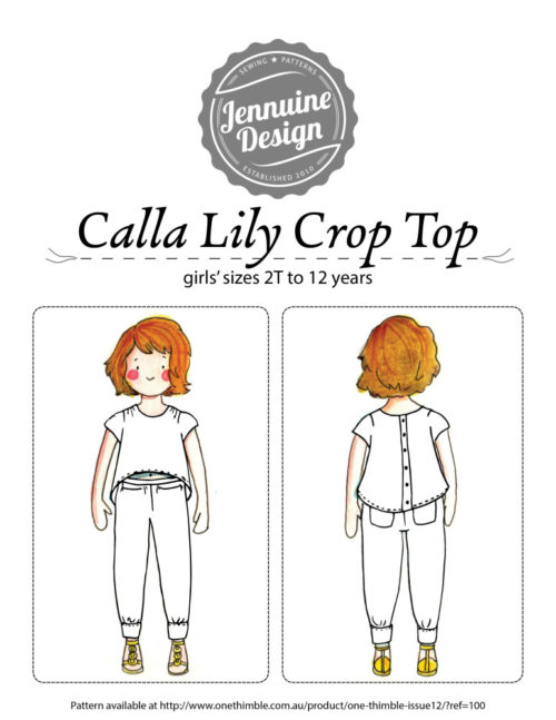 Coloring page for Jennuine Design Calla Lily Crop Top - pattern for girls' sizes 2T to 12 years