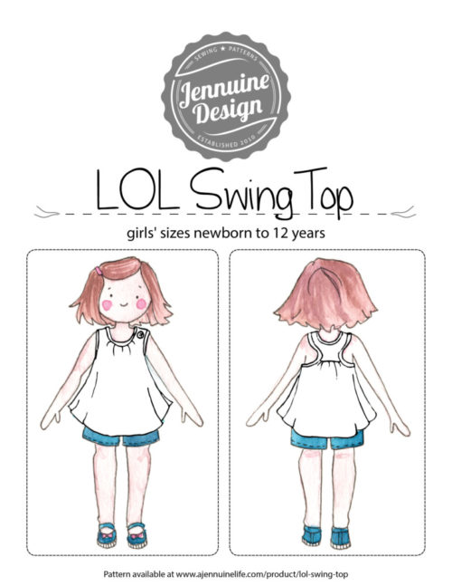 LOL Swing Top Coloring Page by Jennuine Design. Pattern is for girls' sizes newborn to 12 years.