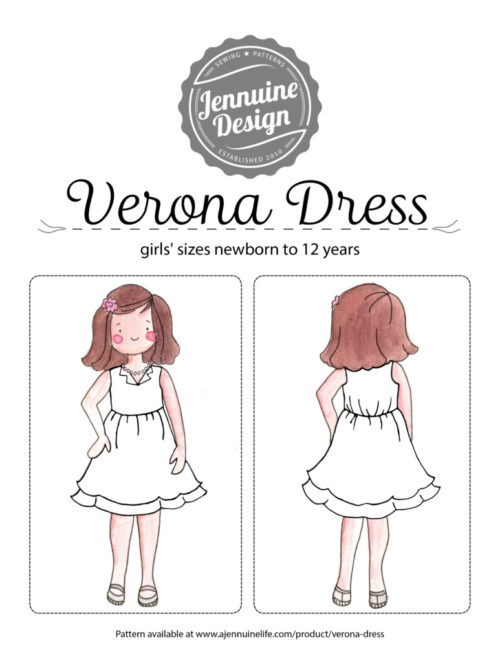 Verona Dress Coloring Page by Jennuine Design. Pattern is for girls' sizes newborn to 12 years