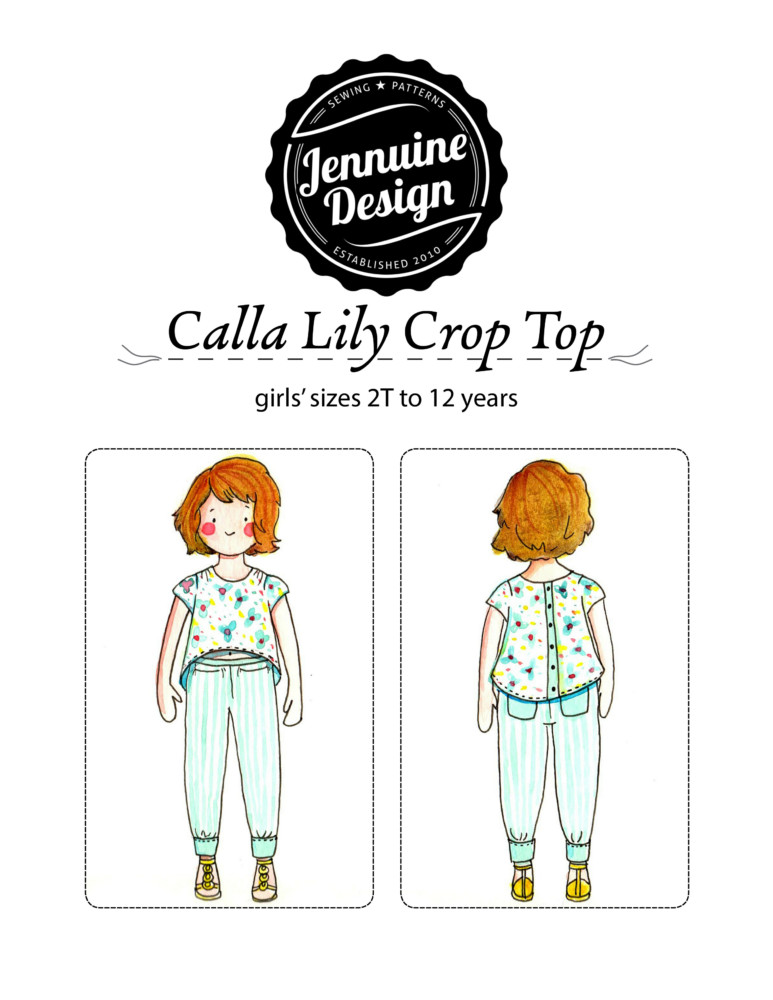Calla Lily Crop Top by Jennuine Design. High-low crop top for girls sized 2T to 12 years.