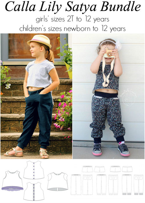 Jennuine Design Calla Lily Crop Top + Satya Pants bundle girls' sizes 2T to 12 years + children's sizes newborn to 12 years