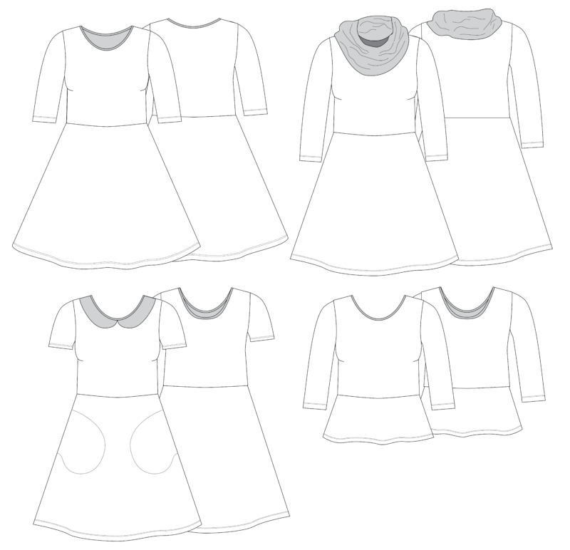 Women's Janie Dress Line Drawings-01