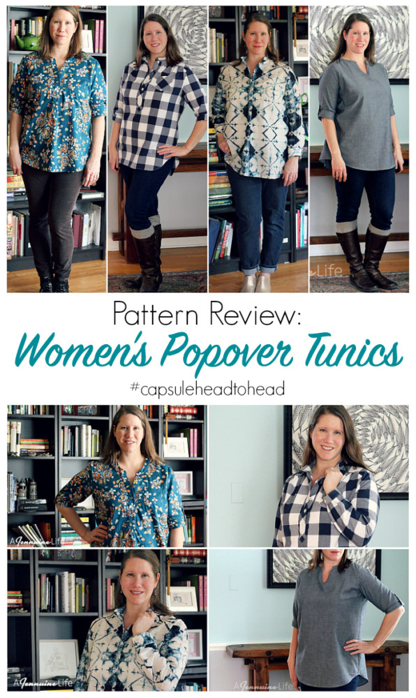 Women's Popover Tunics pattern review and comparison.  Hey June Cheyenne, Itch to Stitch Mila, Liesl + Co. Gallery Tunic and Patterns for Pirates Everyday Elegance