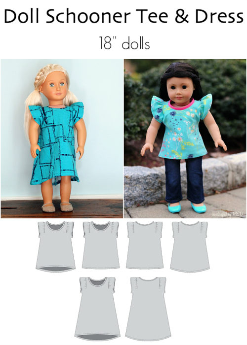 "Doll Schooner Tee & Dress by Jennuine Design for 18"" dolls"