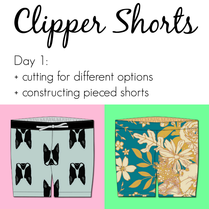 Jennuine Design Clipper Shorts Sew Along Day 1: cutting for options and constructing pieced shorts